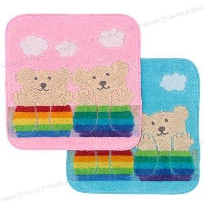 *現貨*日本製 Rainbow Bear 彩虹熊 純棉 小方巾 小手帕 20*20cm 太陽 雲朵 粉色 藍色 今治產