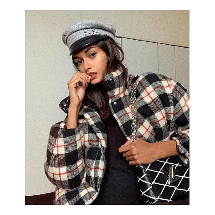 CC Collection 代購 Ruslan Baginskiy 經典黑色RB刺繡灰色羊毛報童帽