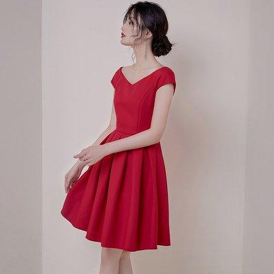 正韓 連身裙 名媛 上班族女神范大牌氣質 修身 復古V領紅色小禮服赫本風連衣裙