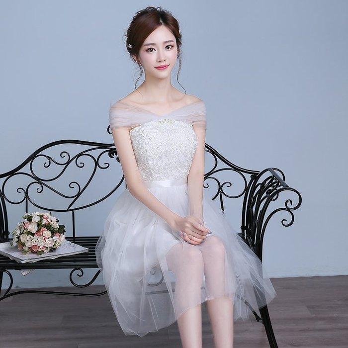 一字肩 伴娘服 婚紗 禮服 短款 表演服 主持服 蓬蓬裙 多款 全【ME GUSTA】