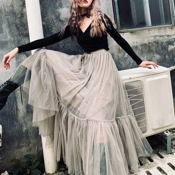 *菇涼家*復古優雅氣质中长款網纱半身裙多層纱超级大摆蓬蓬裙時尚
