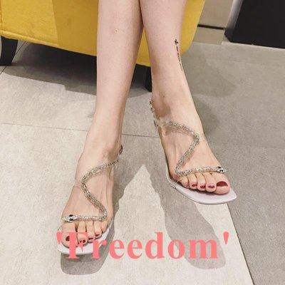 Freedom~女鞋涼鞋女仙女風2019夏新款時尚性感透明蛇形水鉆綁帶高跟鞋細跟女鞋