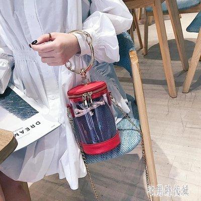 子母包 圓環手提包包女新款2019夏時尚PVC夏百搭斜挎鏈條包 GW1198
