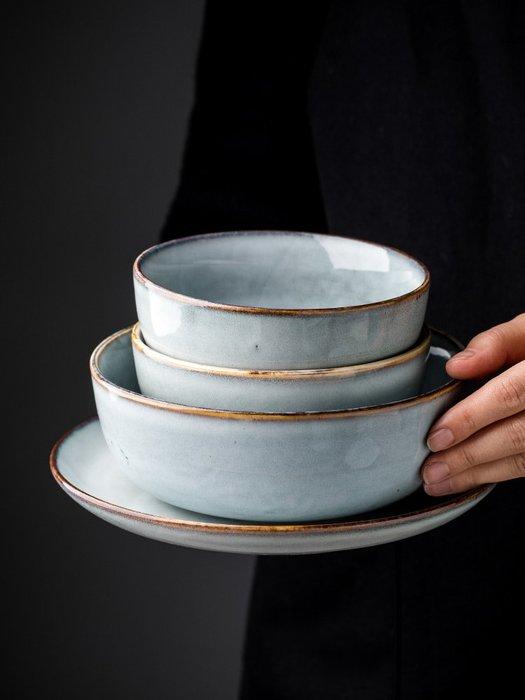 復古窯變釉陶瓷餐具創意碗盤家用湯碗菜盤簡約個性飯碗面碗上班族