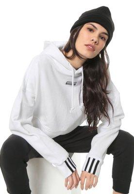 限時特價南 2020 4月 ADIDAS 愛迪達 白黑 女款 短版 連帽 帽T 白色 EJ8536