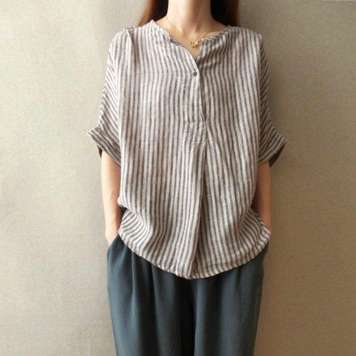 文藝V領條紋素色亞麻棉麻寬鬆短袖T恤襯衫女裝上衣