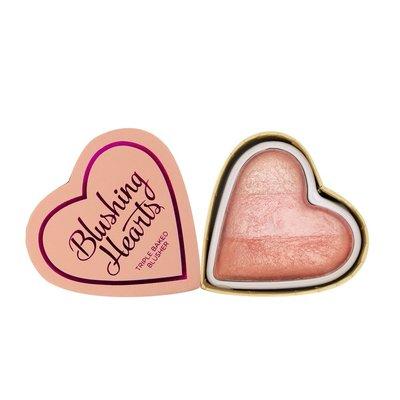 【愛來客 】英國Makeup Revolution Peachy Pink Kisses 桃紅色的吻心型腮紅