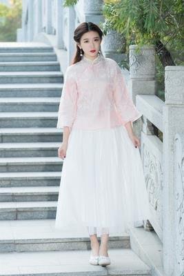 原創超夯春夏中國風新款茶服兩件套滿天星旗袍漢服上衣+半身裙