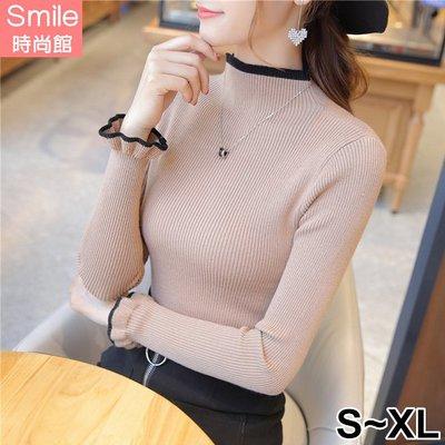 【V9115】SMILE-夢幻甜美.百搭顯瘦半高領長袖針織衫