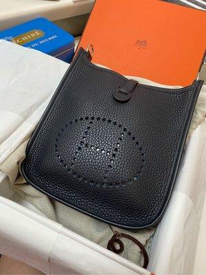 (降價)近全新 Hermès mini Evelyne深靛藍