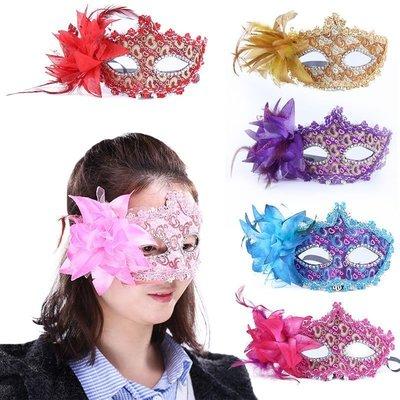 ☜男神閣☞走秀皮革貼布面具花朵新款萬聖節威尼斯化妝舞會面具表演派對配飾