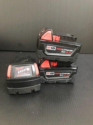 【屏東工具王】美國 9成新 米沃奇 18V 4.0Ah M18B4 鋰電池 電池容量顯示另售米沃奇充電器