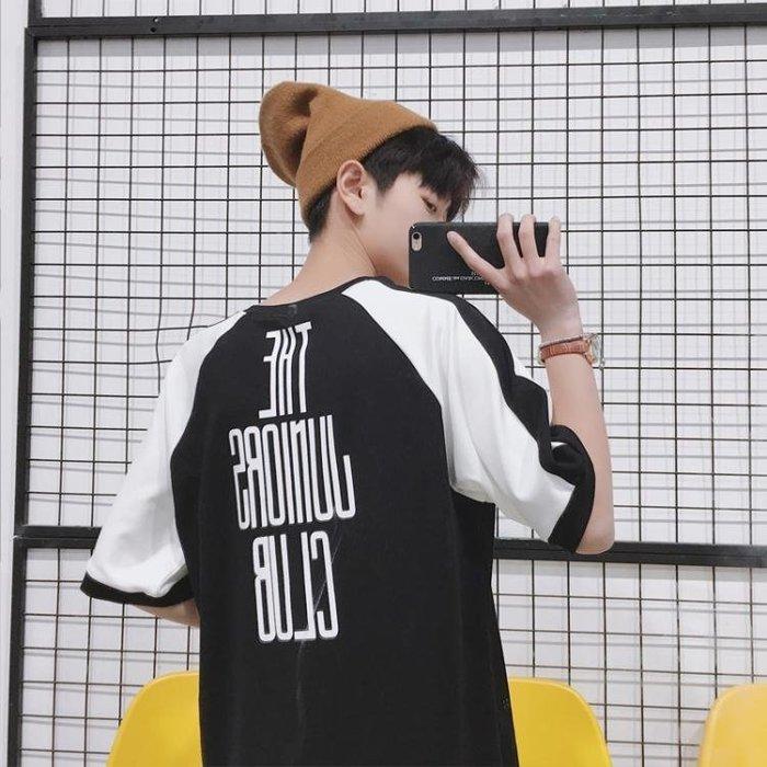 2019夏季新款原宿bf風男生短袖T恤青少年五分袖潮流韓版寬鬆百搭