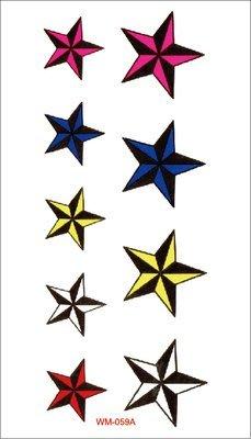 【萌古屋】M系列彩色星星 - 男女防水紋身貼紙原宿刺青貼紙WM-059