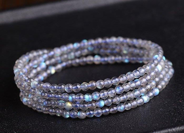 天然灰月光,拉長石多圈水晶手鍊(珠約5mm)   3圈