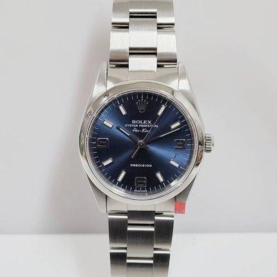 ROLEX勞力士 14000 Air-King空中霸王 藍色面盤 錶徑34mm 3130自動機械 大眾當舖 編號7294