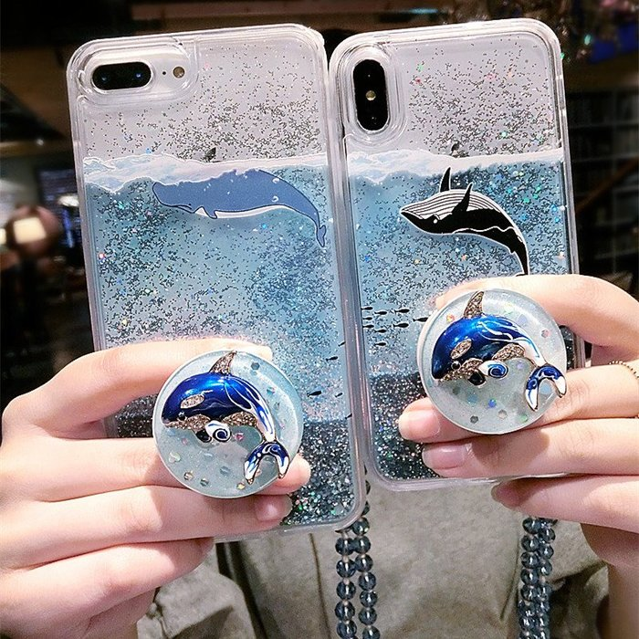 iPhone XS Max X 8 7 6S 6 PLUS 手機殼 流沙閃粉 卡通鯨魚 抖音氣囊支架 帶掛繩 防摔抗震