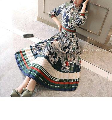 §§§ aMOre §§§ 浪漫和風藝術印花拼花 復古綁帶領結高腰百褶飄逸連身長洋裝~超值 雙色  追加