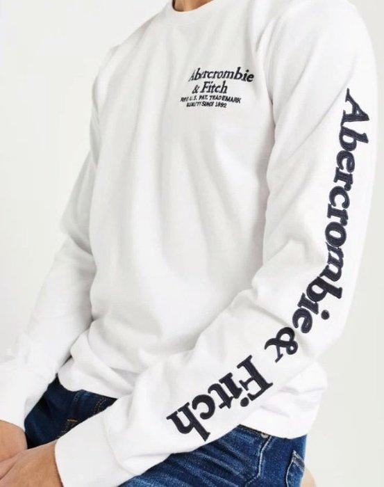 AF Abercrombie & Fitch 麋鹿 長袖 T恤 袖子車繡logo 白色