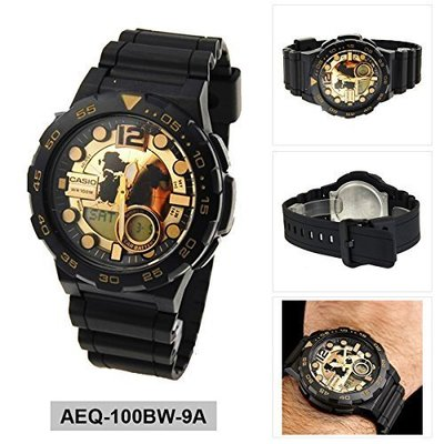 CASIO手錶10年電力 AEQ-100BW-9A 顯示世界時間、LED照明CASIO公司貨AEQ-100 雲林縣