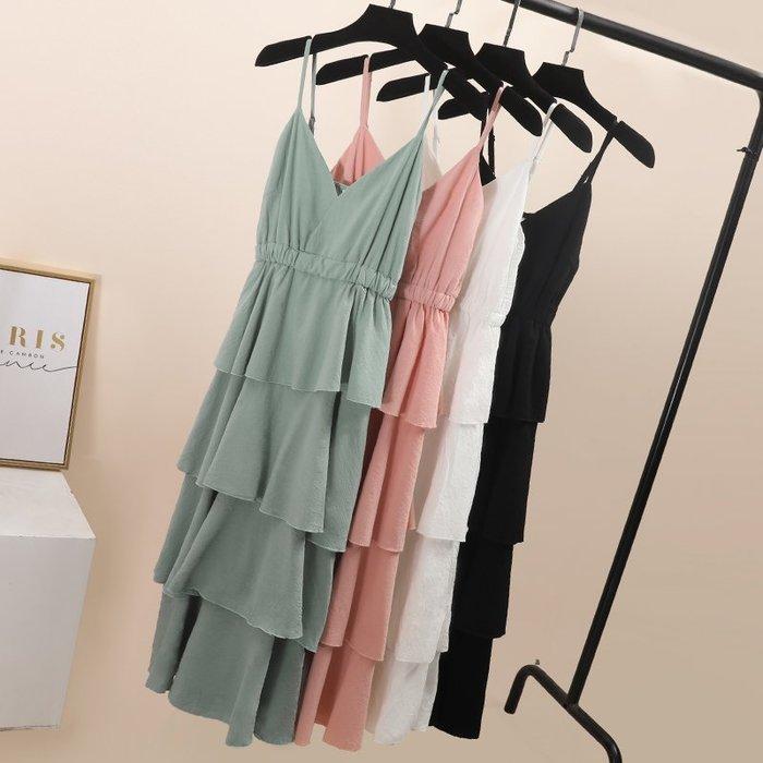 吊帶蛋糕裙綠色連衣裙小清新新款夏高腰很仙的法國小眾桔梗裙 背心裙 吊帶裙 仙女裙 連衣裙 韓版