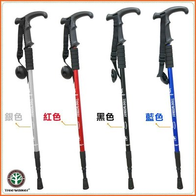 ஐ美麗讚 ஐ101006多功能年長者助力T型露營登山杖。鋁合金助力杖。可調整高度健走杖 露營步行老人家優質特價159