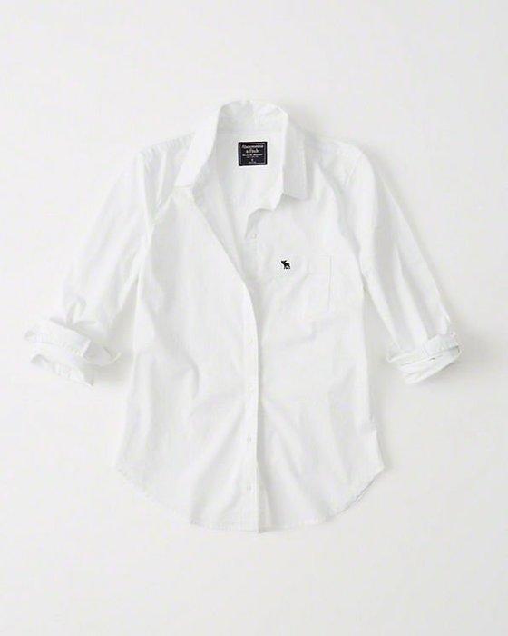 Maple麋鹿小舖 Abercrombie&Fitch * AF  白色電繡麋鹿素面長袖襯衫 * ( 現貨S號 )