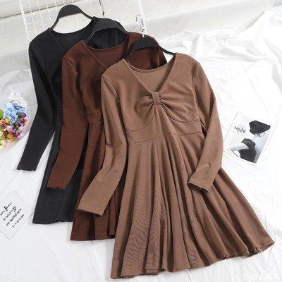 好物多商城 新款心機v領針織連衣裙高腰修身打底裙長袖高冷范短裙子A310