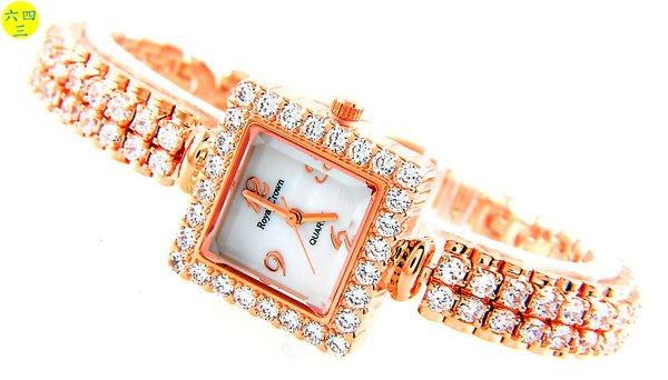 @(六四三精品)@ROYAL(真品)爪鑲鑽錶.方型錶殼..爪鑲晶鑽錶帶.18K玫瑰金式