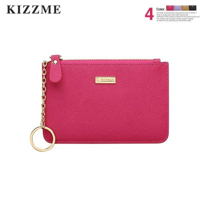 【喜番屋】KIZZME真皮十字紋牛皮女士皮夾皮包錢夾零錢包卡片包卡片夾卡包鑰匙包手拿包鑰匙圈女包女夾【KI110】