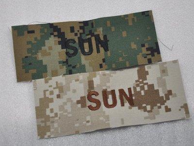 美國Marines/USMC MCCUU姓名條SUN 數碼沙漠/數碼叢林
