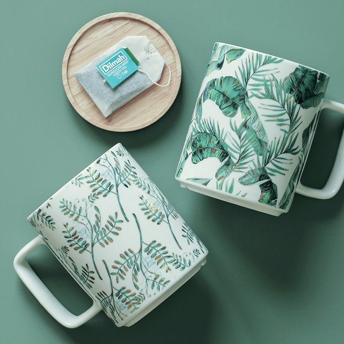 MAJPOINT*馬克杯 杯子 大容量 水杯 咖啡杯 杯蓋杯墊 熱帶植物 交換禮物 情侶對杯 北歐 早餐餐具 果汁牛奶