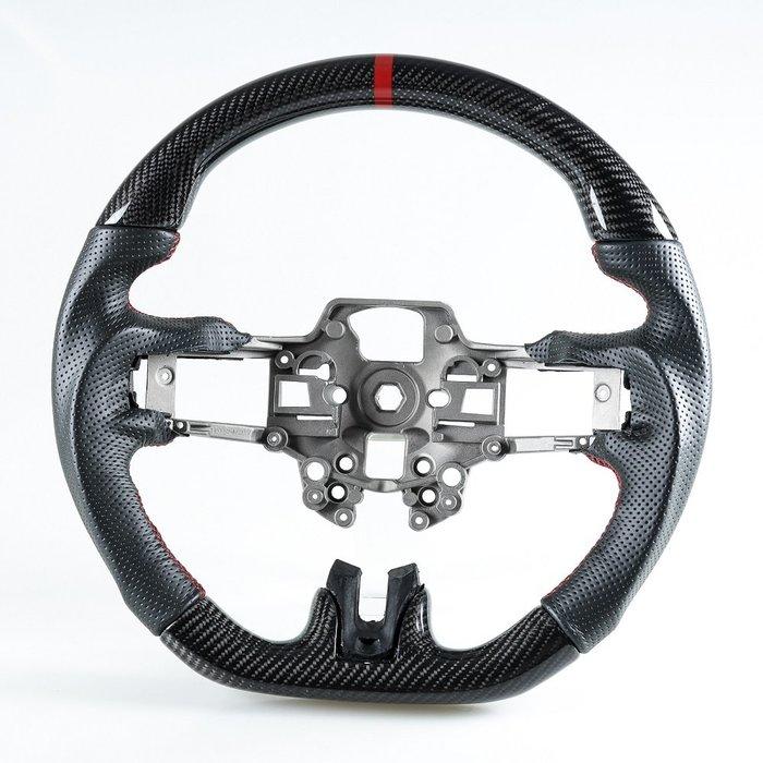 [卡夢碳纖維+真皮] 方向盤 福特野馬Ford Mustang 2019-2020年適用 /紅線+紅環1cm