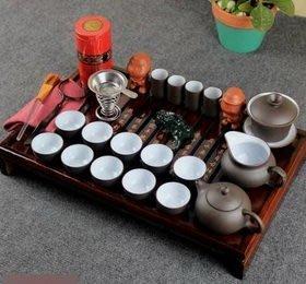 【紫砂茶具套裝-宜興紫砂-茶盤43*27*6cm-壺120海150碗120ml杯35ml-1套/組】整套-7501016