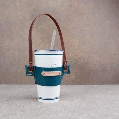 手工牛皮飲料提帶 真皮飲料袋 手提袋 杯套 情人禮物 客製化 壓印
