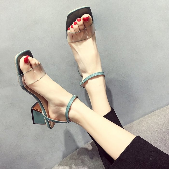 小尤家~網紅涼鞋女超火仙女風夏季新款韓版百搭一字扣帶粗跟高跟鞋潮