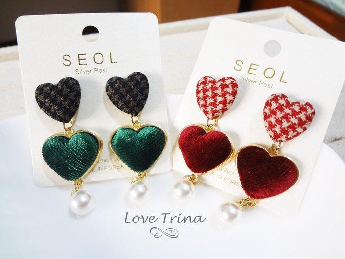 【Love Trina】韓國進口。正韓。7932-1229 大小愛心絨布釦垂墜感針式耳環--銀針(2色)