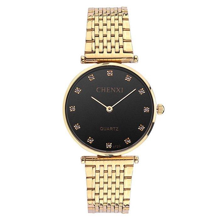 超薄鋼帶手錶防水高檔情侶腕錶石英錶全金p44
