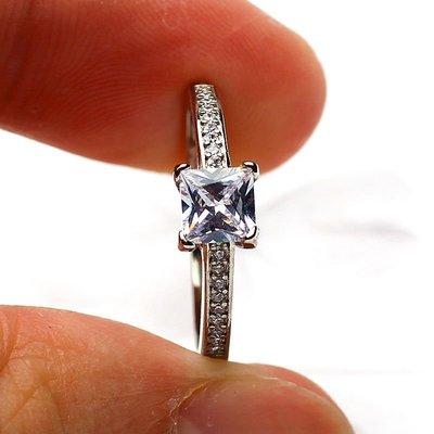 首飾微鑲公主正方鉆戒指S925純銀方形克拉鉆戒女仿真鉆石求婚結婚戒子