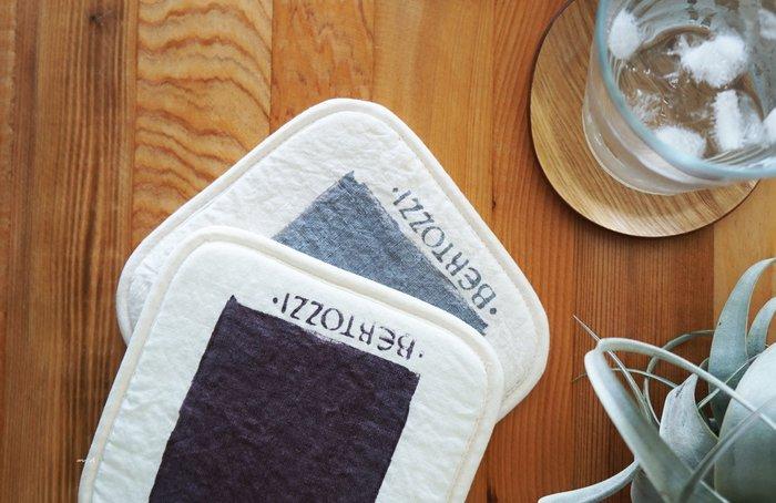 MH選物室 BERTOZZI 自然色系 義大利製 手工滾輪 色塊 可掛式 隔熱墊 杯墊 茶壺墊