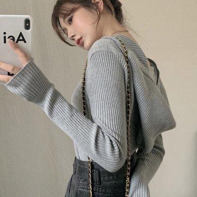 不撞衫設計款個性上衣 V領螺紋連帽長袖針織衫 艾爾莎【TAE8553】