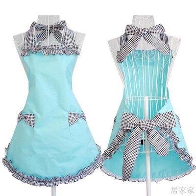 居家家 圍裙女韓版時尚格子純棉天藍色家用廚房美甲美容可愛公主工作圍裙