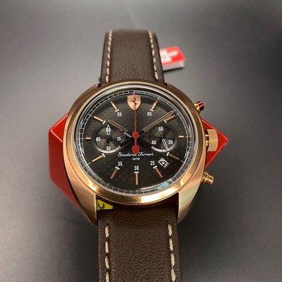 FERRARI法拉利男錶,編號FE00003,46mm玫瑰金圓形精鋼錶殼,黑色雙眼錶面,咖啡色真皮皮革錶帶款