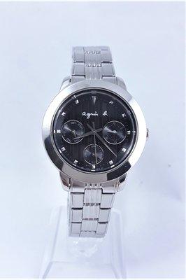 【Jessica潔西卡小舖】日本艾格尼絲 agnes b.黑面三眼經典石英腕錶
