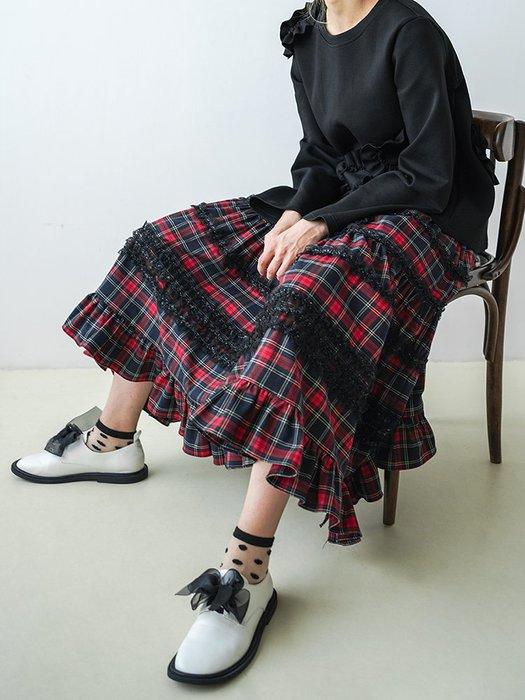 【鈷藍家】甜美個性原創復古蘇格蘭格子半身裙女秋季中長款高腰顯瘦紅色格紋百褶A字裙