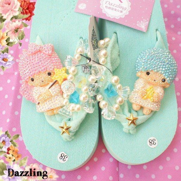 ✿Dazzling✿  超閃亮! 手工水鑽縫制'珍珠 KIKILALA 雙子星 人字夾腳厚底拖鞋(1色) 獨家特↘680