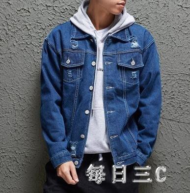 牛仔外套破洞男秋新款韓版潮流寬鬆帥氣牛仔衣夾克上衣 zm6007
