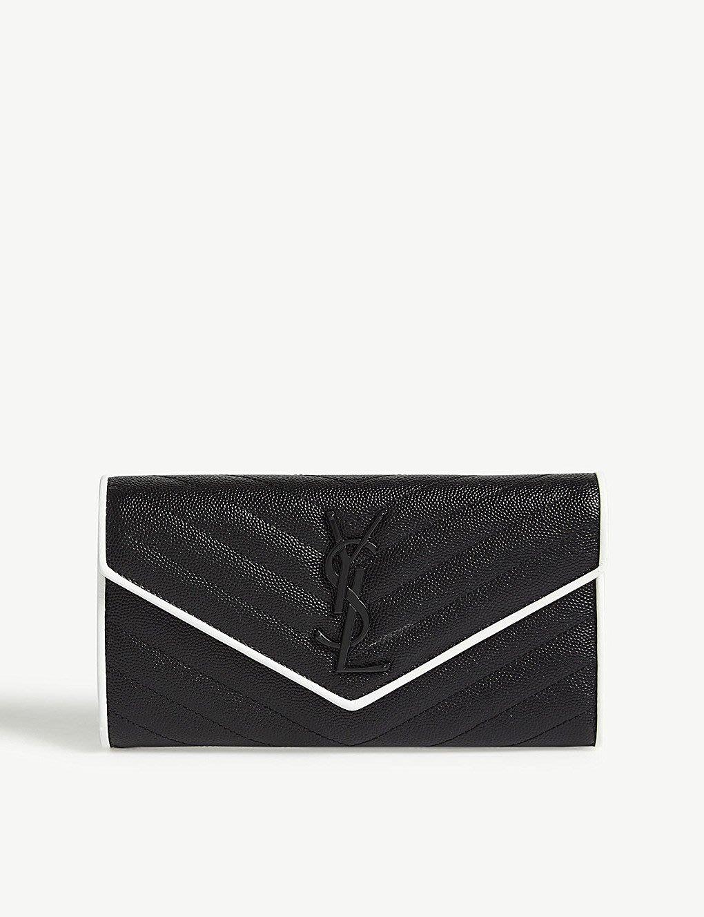 SAINT LAURENT Monogram quilted leather wallet 魚子醬紋 長夾