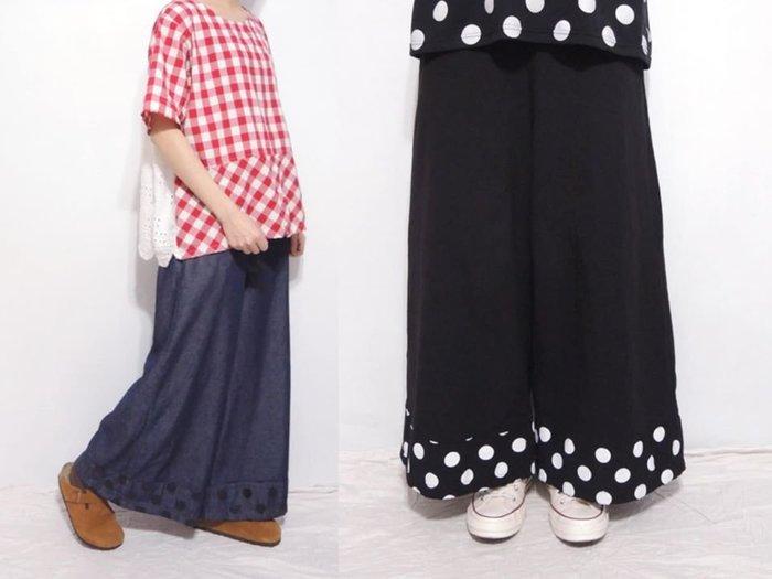 。error dot。韓國拼接圓點設計寬褲
