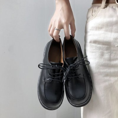 現貨促銷 日系復古女平底單鞋學生原宿圓頭娃娃鞋百搭韓版學院風英倫小皮鞋 板鞋 小皮鞋 休閒鞋 平底鞋